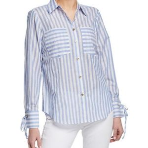 Michael Kors Striped Grommet Cuff Blouse NWT